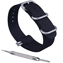 ZWOOS NATO Watch Band Strap Premium Nylon Fabric Stainless Steel Buckle with Spring Bar Tool Black Army Green