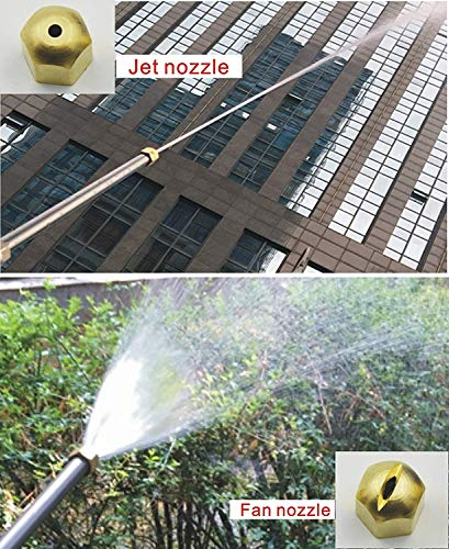Hydro Jet High Pressure Glass Cleaner - 27'' Extendable Power Washer Wand, Water Hose Attachment Nozzle, Flexible Auto Washer, Snow Foam Cannon, Watering Sprayer, Car Wash, Window Washing, 2 Tips by Buyplus (Image #5)