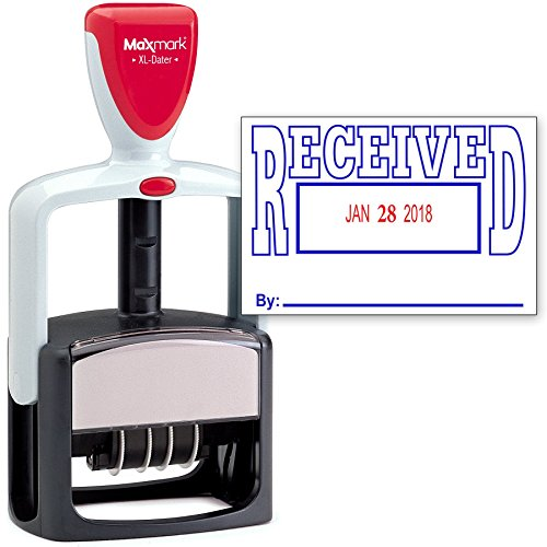 2000 Plus Heavy Duty Style 2-Color Date Stamp with Received self Inking Stamp - Blue/Red Ink (Self Heavy Stamp Duty Inking)