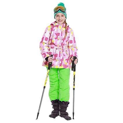 48d3b4c735f Engrosado Chaqueta de esquí con Capucha y Pantalones Impermeables para niños  a Prueba de Viento