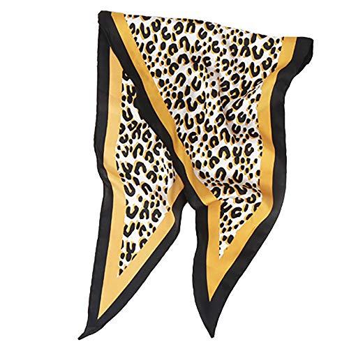 Jonecal Women Fashion Twill Satin Diamond Wrist Neckerchief Soft Silk Leopard Scarf (Yellow) by Jonecal (Image #1)