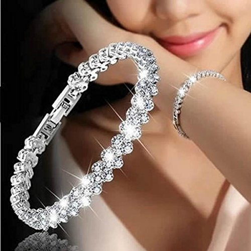 Woman Crystal Diamond Bracelets,Hemlock Valentine's Chain Bracelet Lovers Gifts (Silver) ()