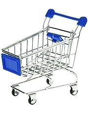 Sungpunet Modèle de chariot de supermarché Mini caddie Panier de rangement pour bureau–Bleu