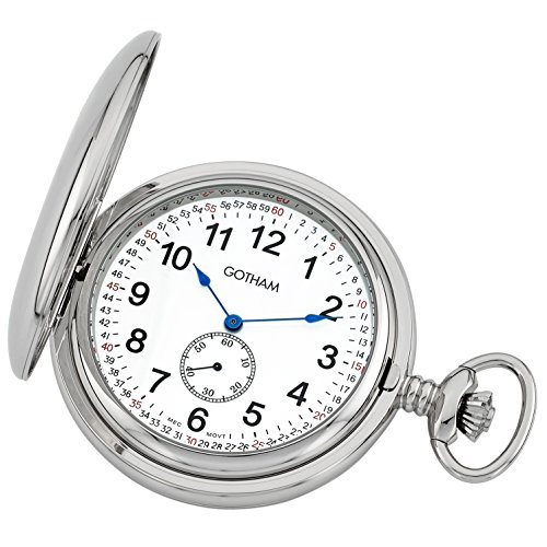 Gotham Men's Silver-Tone Double Hunter Deluxe 17 Jewel Mechanical Pocket Watch # GWC18805S