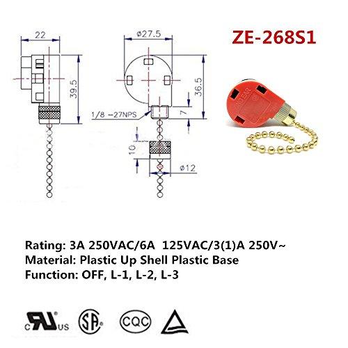 2pack zing ear ze-268s1 ceiling fan switch 3 speed 4 wire, ceiling fan