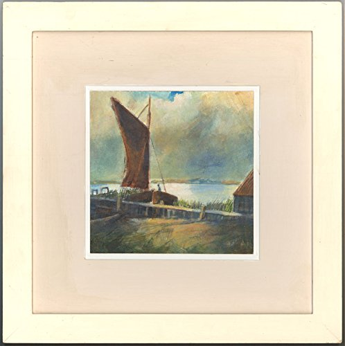 Richard Lannowe Hall (b. 1951) - Monogrammed Gouache, Coastal Harbour Scene