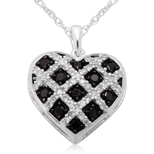10k White Gold Black and White Diamond Heart Pendant (2/5 cttw, I-J Color, I2-I3 Clarity), 18″