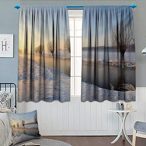 Anhounine Winter,Blackout Curtain,Snowy River Landscape Barren and Frosted Trees Dutch Netherlands Europe Photograph,Patterned Drape for Glass Door,Multicolor,W84 x L72 inch