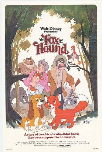 the fox and the hound VINTAGE KIDS MOVIE POSTER disney colorful 24X36 FUN