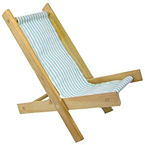 Wooden Toy Folding Beach Chair with Aqua and White Striped Fabric