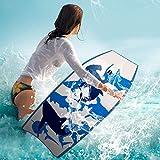 "42""(106cm) Body Board EPS Beach Design Bodyboard Pool Swim Float Wave Core Surf Board Includes Wrist/Ankle Strap For Adult Kids (Blue)"