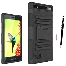 BackBerry Leap case, KuGi ® High quality ultra-thin PC Back + TPU 3 in 1 Cover Case for BackBerry Leap smartphone. (Black)