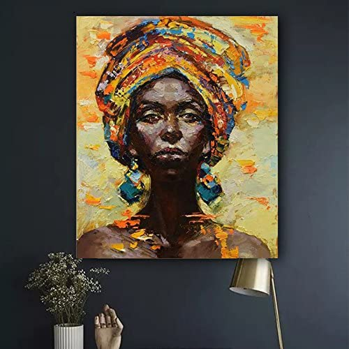 Faicai Art African American Woman Art Black Art Handmade Textured Oil Paintings Canvas Wall Art for Living Room Bedroom Abstract Africa Pictures Art Work Wooden Framed, African Life 24 x36