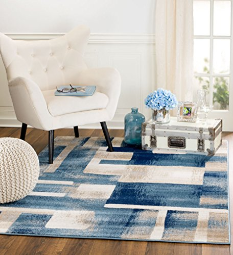 MADISON COLLECTION B4-MLV8-CXK8 404 Modern Abstract Blue Area Rug Clearance Soft and Durable Pile. Size Option , 5'x7'