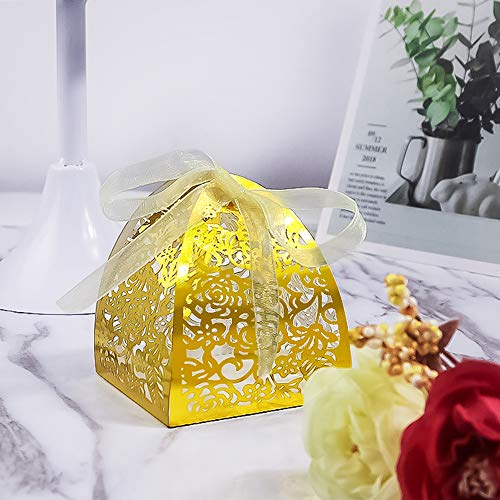 YOZATIA 50pcs Rose Laser Cut Wedding Party Favor Boxes,Candy Boxes Chocolate Gift Boxes, Bridal Birthday Shower Bomboniere with Ribbons ()