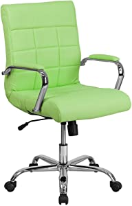 Flash Furniture Mid-Back Green Vinyl Executive Swivel Office Chair with Chrome Base and Arms, BIFMA Certified