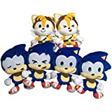 TOMY Sonic Hedgehog Plush Boom Emoji Set of 6 Happy Sonic, Cute Sonic, Sad Sonic, Sleepy Sonic, Happy Tails, Cute Tails. 8 Inch Hedgehog