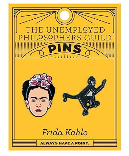 The Unemployed Philosophers Guild Frida and Monkey Enamel Pin Set - 2 Unique Colored Metal Lapel ()