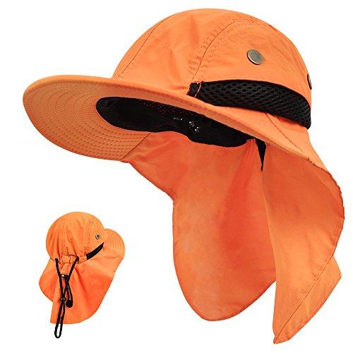 LETHMIK Kids Outdoor Sun Hat,Waterproof UV Protection Hiking Cap for Children Adjustable Hunting Fishing Hat with Neck Flap Orange