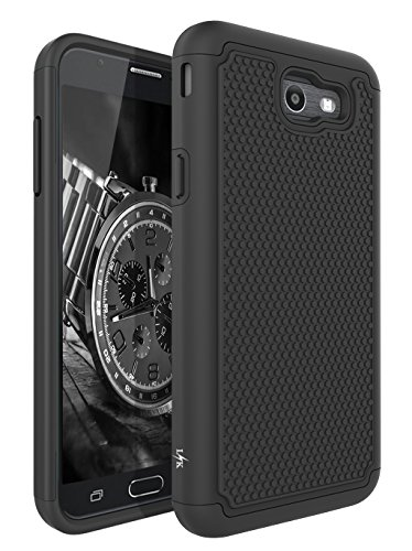 For Samsung Galaxy J7 V/J7 2017/J7 Prime/J7 Perx/J7 Sky Pro/Galaxy Halo Case, LK [Shock Absorption] Drop Protection Hybrid Armor Defender Protective Case Cover (Black) - Contour Leather Folio Case