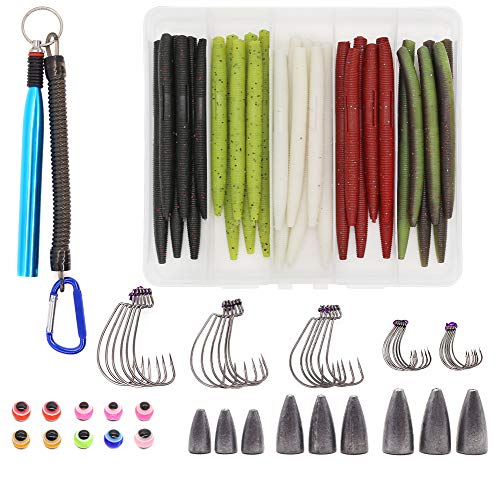 """XFISHMAN Senko Worms Bass Fishing Lure Kit 30 pk Wacky Rig Worms Soft Plastic Stick Baits 4"""" 5"""" inch (80 Pieces Set with Texas Wacky Rig Tool and Hooks)"""