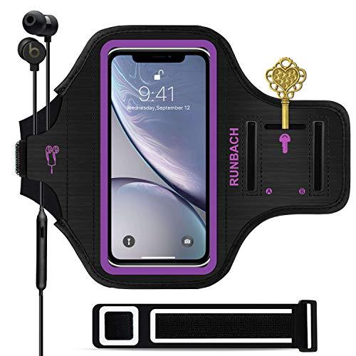 iPhone XR Armband,RUNBACH 6.1 Inch Sweatproof Running Exercise Gym Cellphone Sportband Bag Fingerprint Touch/Key Holder Card Slot iPhone XR (Purple)