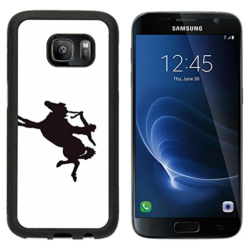 Premium West Sd Card (MSD Premium Samsung Galaxy S7 Aluminum Backplate Bumper Snap Case IMAGE ID: 2377996 Buckaroos cowboy on bucking bronco wild horse Western art iron work Wyoming Rocky Mountain west)