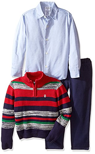3 Piece Sweater Vest Pants - IZOD Boys' Three Piece 1/4 Zip Sweater, Woven Shirt, and Pant Set,Red/Navy,4T
