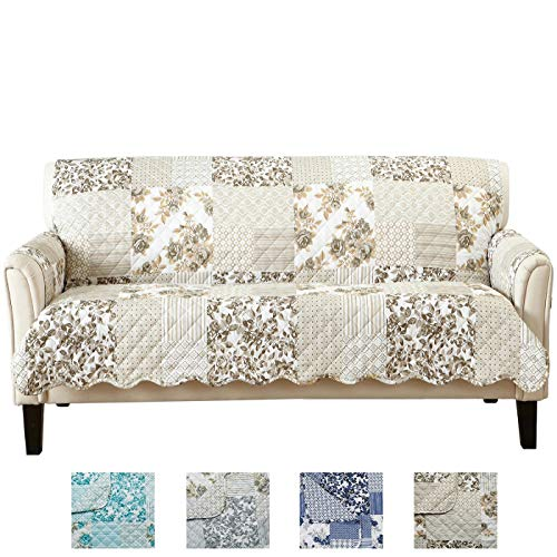 Great Bay Home Patchwork Scalloped Stain Resistant Printed Furniture Protector Brand. (Sofa