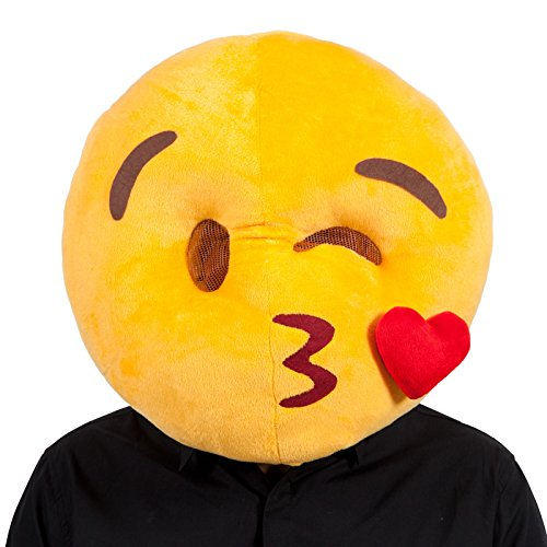Adults Yellow Plush Kissing Face Emoji Emoticon Fancy Dress Funny Mask Accessoy
