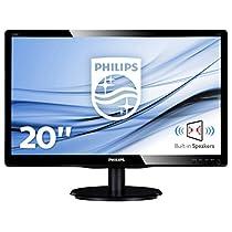 """Philips Monitores 200V4LAB2/00 - Monitor de 19.5"""" (resolución 1600 x 900 pixels, tecnología WLED, contraste 1000:1, 5 ms, VGA), color negro"""