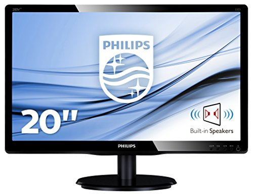 """Philips 200V4LAB2/00 - Monitor de 19.5"""" (resolución 1600 x 900 pixels, tecnología WLED, contraste 1000:1, 5 ms, VGA, 200 cd/m² , altavoces), color negro: Philips"""