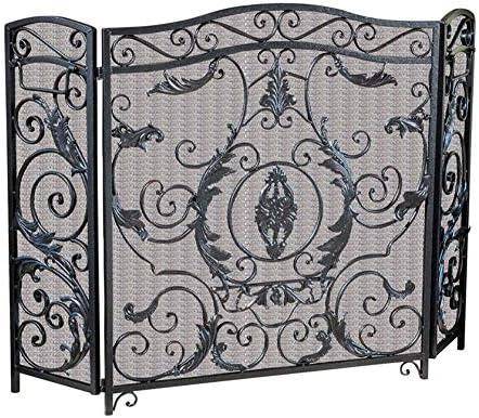 暖炉スクリーン 拡張可能な拡張3パネル暖炉ガード火画面スパークフレイムガードアーチ型の折りたたみデザイン、ブラック、