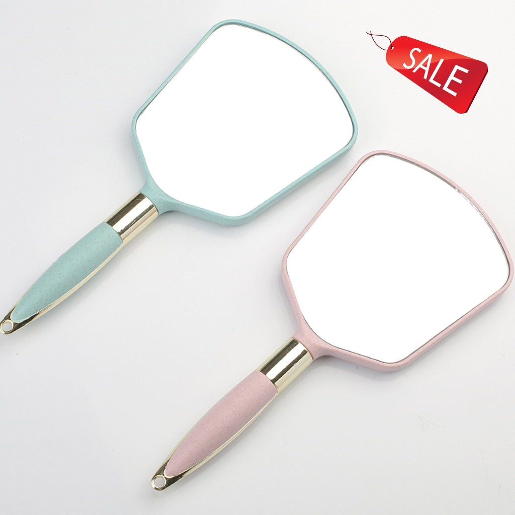 Handheld Mirrors Mirror Round Mirror Portable Double Mirror Desktop Dormitory Schoolgirl Small Round Mirror European Vanity Mirror Princess Portable Cute Two Loaded (Color : B)