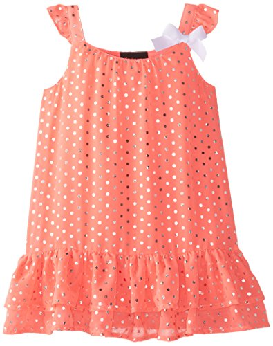 Girls Rule Little Girls' Disco Dot Printed Chiffon Dress with Bow, Neon Coral, 6X