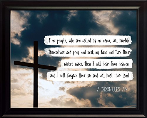 2 Chronicles 7:14 If my people - Christian Poster, Print, Picture or Framed Wall Art Decor - Bible Verse Collection - Religious Gift for Holidays Christmas Baptism (8x10 Framed)