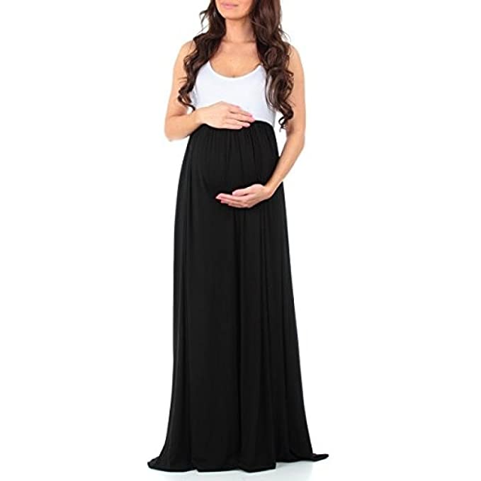FEITONG Women\'s Sleeveless Ruched Color Block Maxi Maternity Dress ...