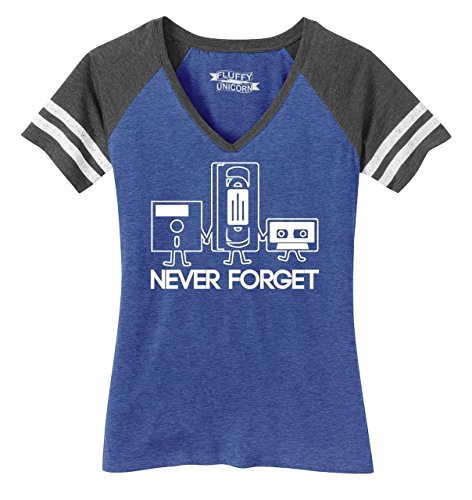 Women's V-Neck Tee Never Forget 80s Tech Tee - many colors