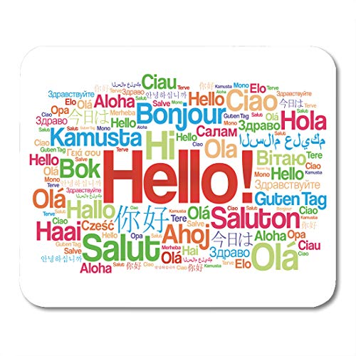 Emvency Mouse Pads Diversity Hello Word Cloud in Different Languages of The World Translation Mousepad 9.5