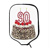 YOLIYANA 90th Birthday Decorations Durable Racket Cover,Birthday Cake with Cherries Burning Candles Number Ninety for Sandbeach,One Size