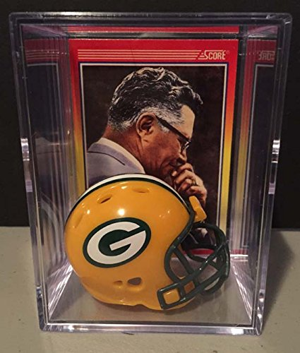 Green Bay Packers NFL Helmet Shadowbox w/ Vince Lombardi card Riddell
