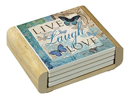 Counter Art Absorbent Coasters Live-Laugh-Love Butterfly In Wooden Holder (Set of 4)