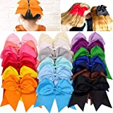 20Pcs 7' Large Cheer Bows for Girls Ponytail Holder Satin Cheerleading Bows Elastic Hair Tie Bands for Baby Girls School Colleage Teens Senior Cheerleader