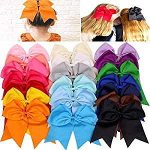 20Pcs 7″ Large Cheer Bows for Girls Ponytail Holder Satin Cheerleading Bows Elastic Hair Tie Bands for Baby Girls School Colleage Teens Senior Cheerleader