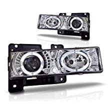 Winjet WJ10-0002-01 Chrome Housing/Clear Lens Projector Headlight with LED Halo (Chevy/GMC)