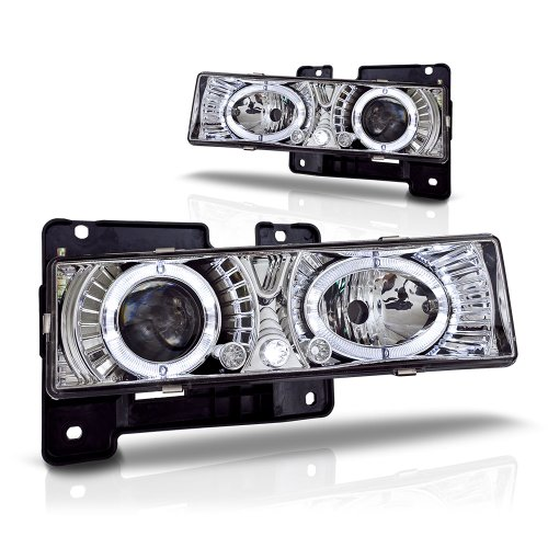 Winjet WJ10-0002-01 Chrome Housing/Clear Lens Projector Headlight with LED Halo (Chevy/GMC) (Halo Headlights 1993 Chevy compare prices)