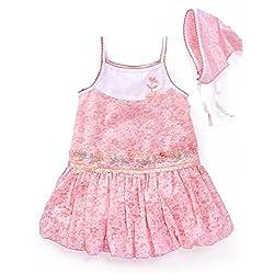 Little Bitty Little Girls Pink Floral Embroirdered Bubble Dress
