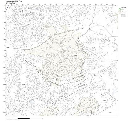 Amazon Com Zip Code Wall Map Of Lawrenceville Ga Zip Code Map Not