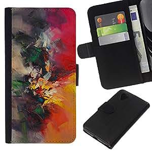KLONGSHOP // Tirón de la caja Cartera de cuero con ranuras para tarjetas - pintura de acuarela pincel pintor naturaleza - LG Nexus 5 D820 D821 //