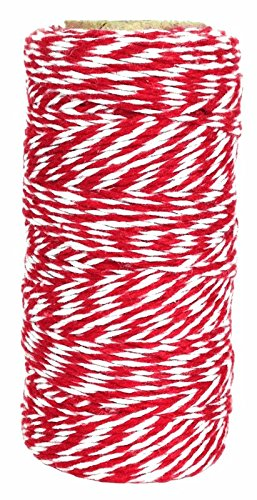 Bakers Twine 240yd 4Ply Striped Cherry Red